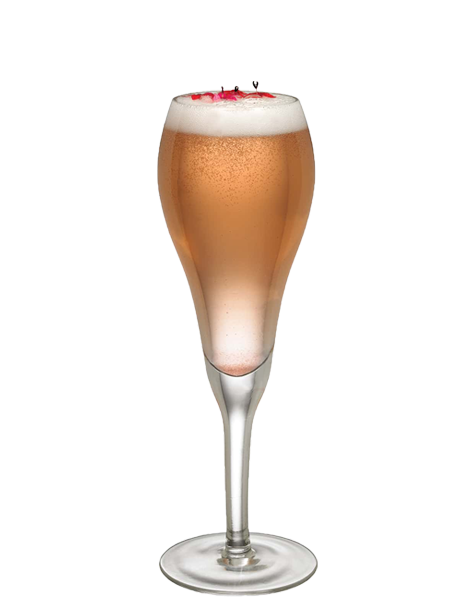 frose orange champagne in champagne flute
